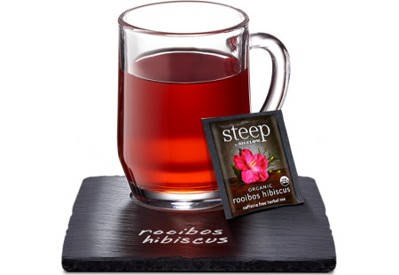 Cup of steep by bigelow organic rooibos hibiscus herbal tea