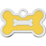 Chrome Bone with Yellow Epoxy Small Bone Quick-Tag