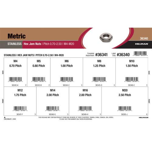 Stainless Steel Metric Hex Jam Nuts Assortment (M4-0.70 thru M20-2.50)