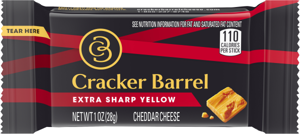Cracker Barrel Extra Sharp Cheddar Cheese Stick 1 oz Wrapper