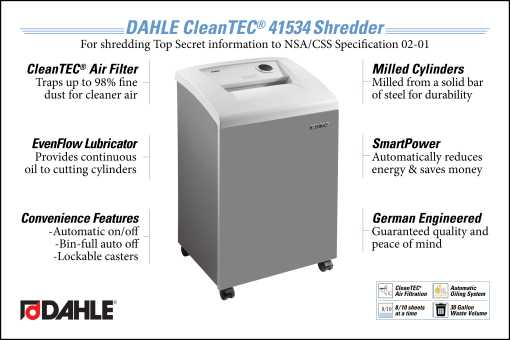 DAHLE CleanTEC® 41334 High Security Department Shredder InfoGraphic