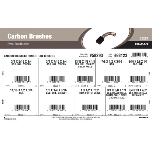 Carbon Brushes Assortment (For B&D, SKIL, Van Dorn, Stanley, Miller Falls, Porter Cable, Milwaukee Power Tools)