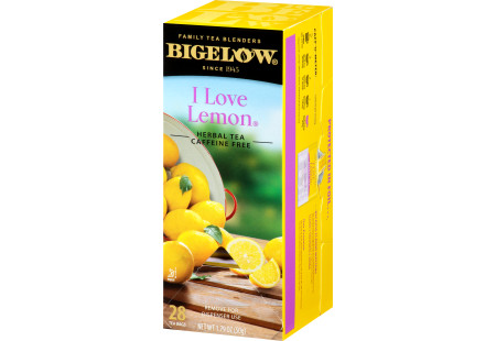 Right facing I Love Lemon Herbal Tea Box of 28 tea bags