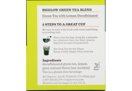 Ingredient panel of Green Tea with Lemon Decaf box