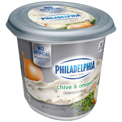 Philadelphia Chive and Onion Cream Cheese Spread 15.5 oz Tub