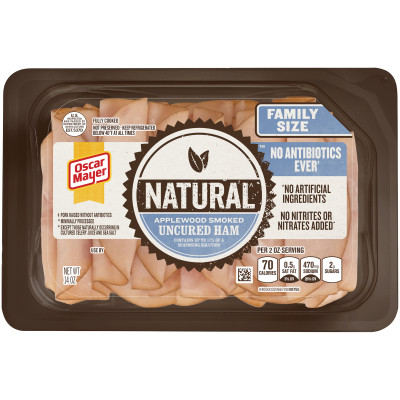 Oscar Mayer Natural Applewood Smoked Uncured Ham 14 oz Tray