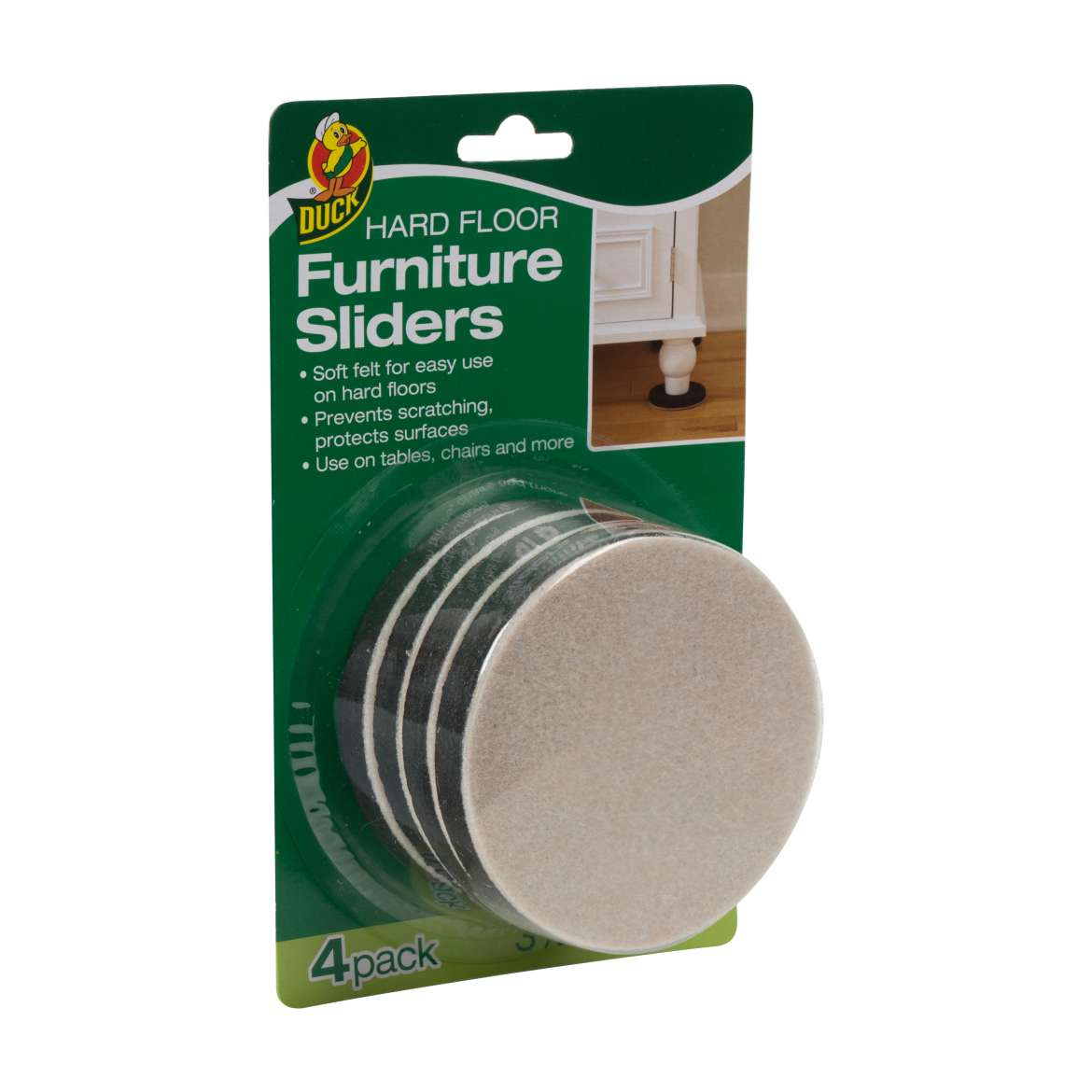 Duck® Brand Felt Hard Floor Furniture Sliders - Brown, 3.5 in. Image
