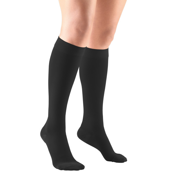 Firm Strength Compression Socks, Knee High, Closed Toe, Black, Large