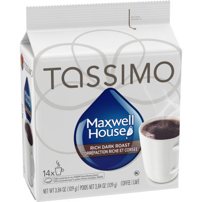 Tassimo Maxwell House Rich Dark Roast Coffee Single Serve T-Discs