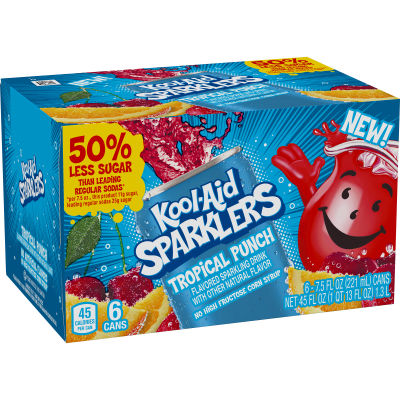 Kool-Aid Sparklers Tropical Punch Flavored Sparkling Drink 6 - 7.5 fl oz Cans