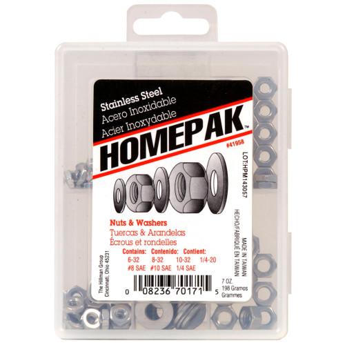 HOMEPAK Stainless Nuts & Washers Assortment Kit