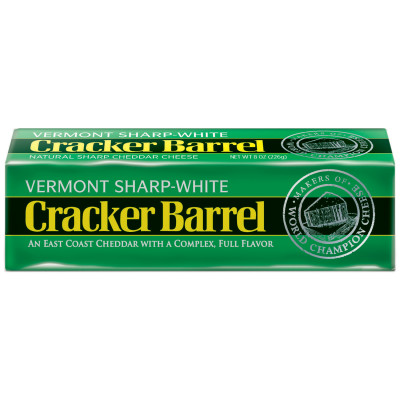 Cracker Barrel Vermont Sharp-White Cheddar Cheese Chunk 8 oz Wrapper