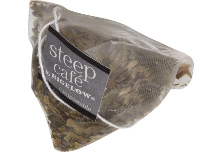 steep cafe by Bigelow full leaf dragonwell green tea pyramid bag
