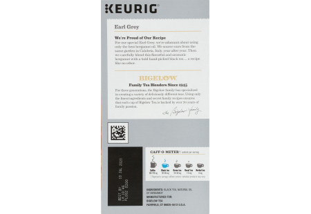 Right side of Keurig Bigelow Earl Grey Tea K-Cups box of 24 -ingredient panel