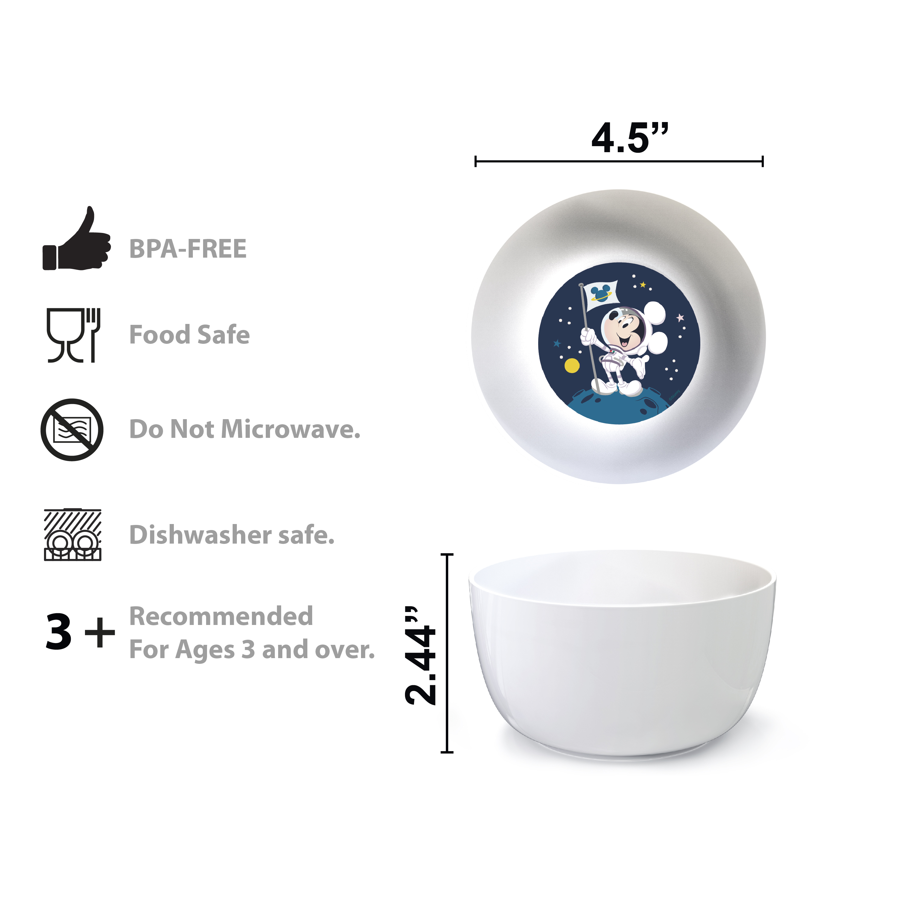 Disney Plate, Bowl, Tumbler and Flatware Set, Outer Space Mickey Mouse, 5-piece set slideshow image 7