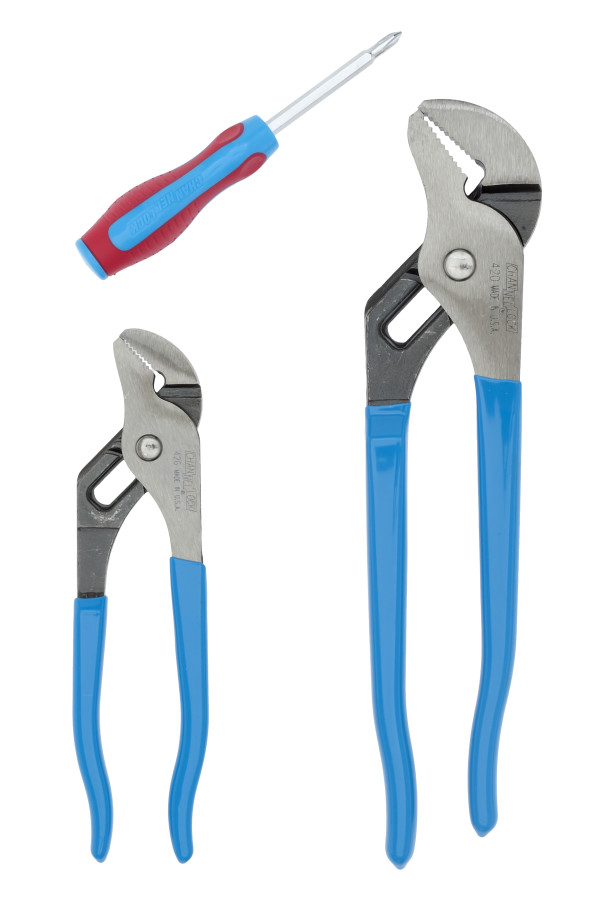 GS-1S 2pc Tongue & Groove Pliers Set with 2n1 CODE BLUE® Screwdriver