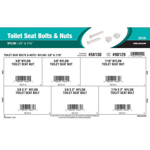 Nylon Toilet Seat Bolts & Nuts Assortment (3/8