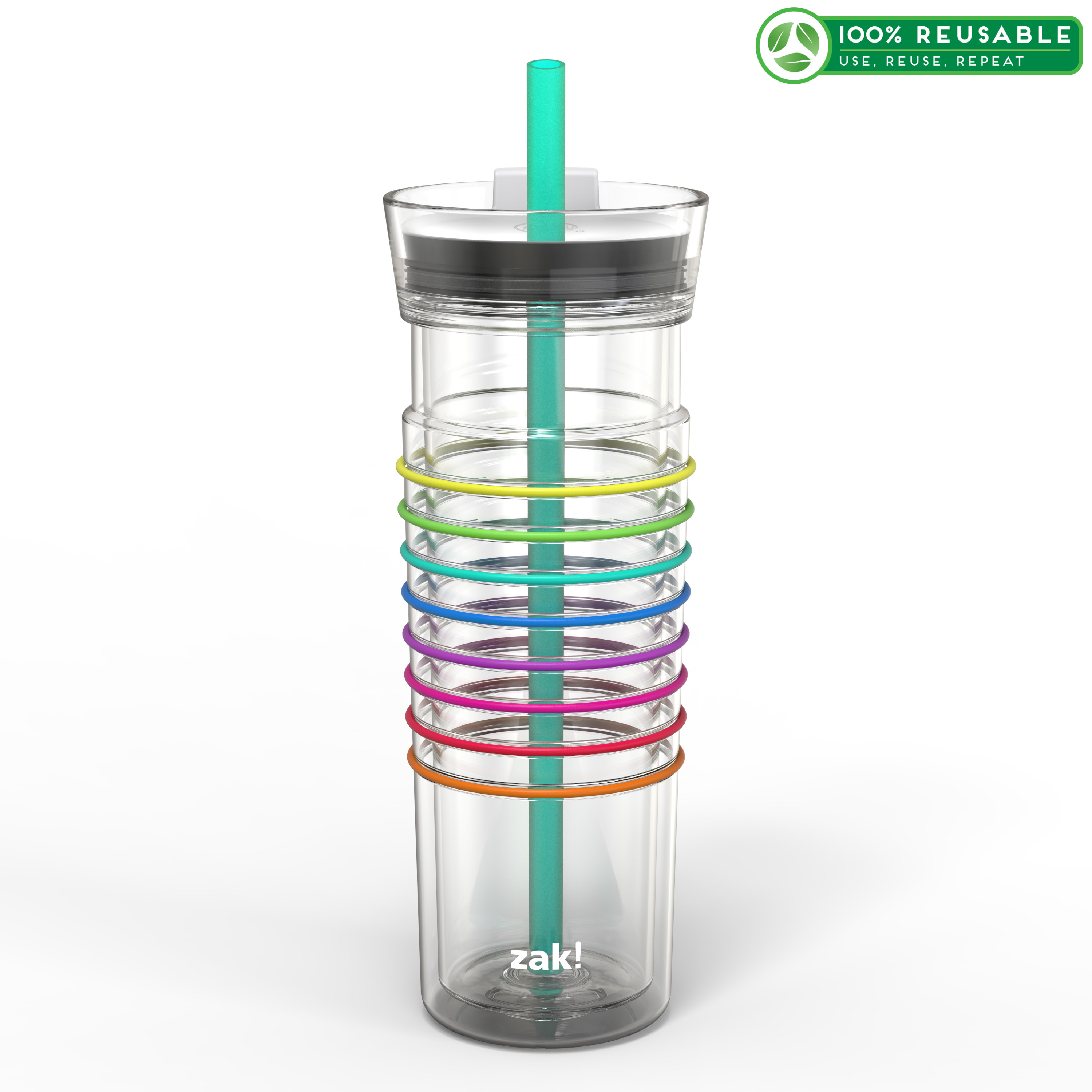 Zak! Hydration 20 ounce Insulated Tumbler, Clear slideshow image 1