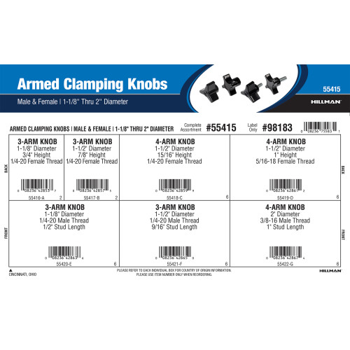 Armed Clamping Knobs Assortment (1-1/8