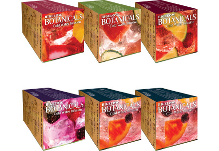 Top of boxes Assorted Bigelow Botanical Cold Infusion 6 boxes total of 108 teabags