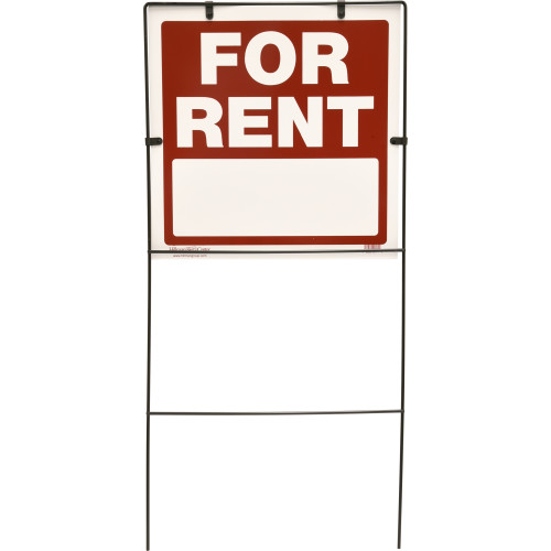 For Rent Sign Red and White with Frame (17