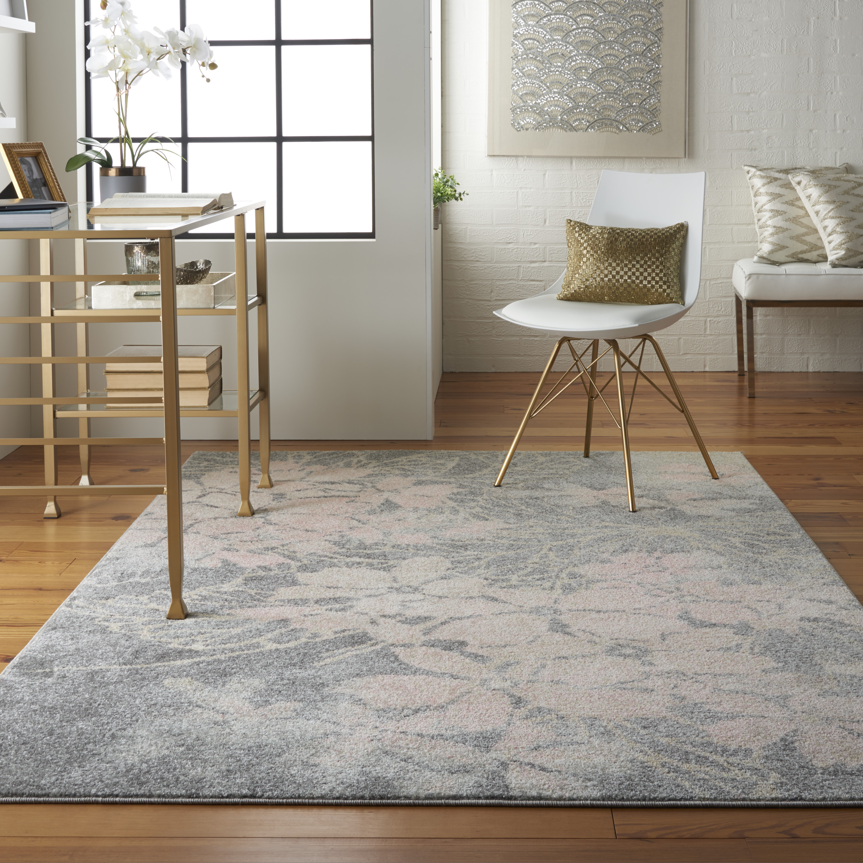 Nourison Tranquil TRA08 Grey Pink Rug