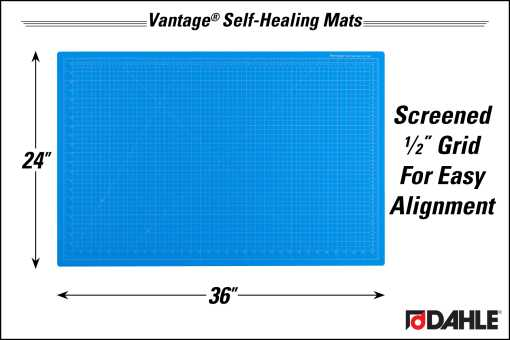 "Dahle Vantage® 24"" x 36"" Self-Healing Cutting Mat, Blue - InfoGraphic"
