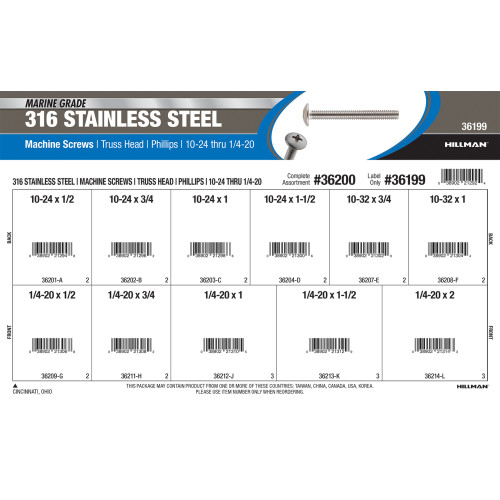 316 Stainless Steel Truss Head Machine Screws Assortment (#10-24 thru 1/4