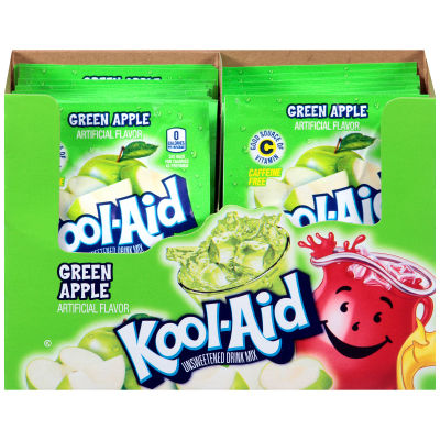 Kool-Aid Unsweetened Green Apple Powdered Soft Drink 192 - 0.22 oz Envelopes