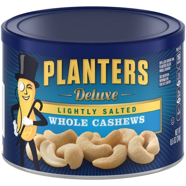 PLANTERS Deluxe Lightly Salted Whole Cashews 8.5 oz Can image