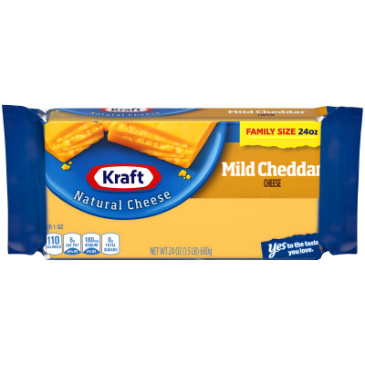 Kraft Mild Natural Cheddar Cheese Block 24 oz Wrapper