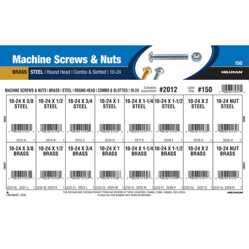#10-24 Brass & Steel Machine Screws and Nuts Assortment (Round-Head Slotted Drive Variants)