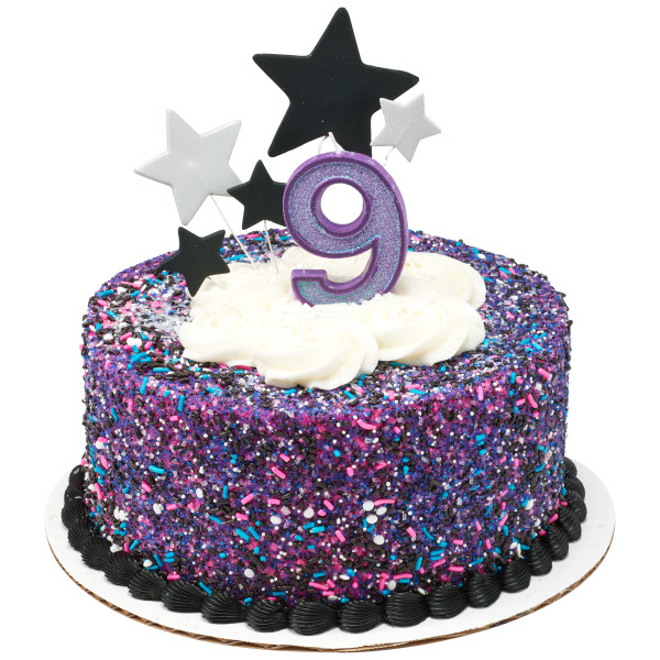 9 Glitter Numeral Candles