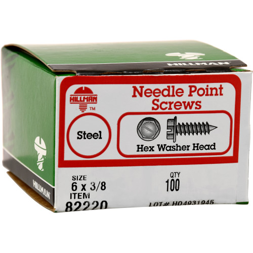 Slotted Hex Washer Head Needle Point Lath Screw #6 x 3/8