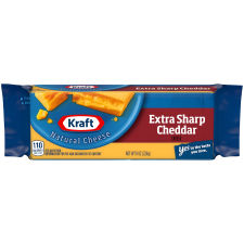 Kraft Extra Sharp Cheddar Natural Cheese 8 oz Wrapper