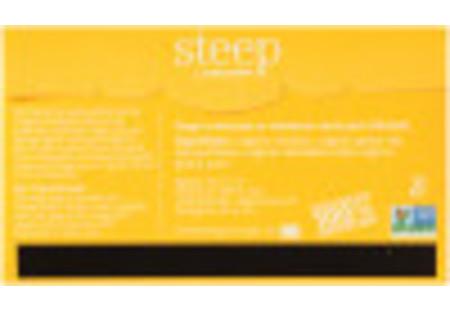 Back of steep by Bigelow Organic Dandelion and peach Rooibos and Green Tea Box of 20 tea bags - Ingredient list