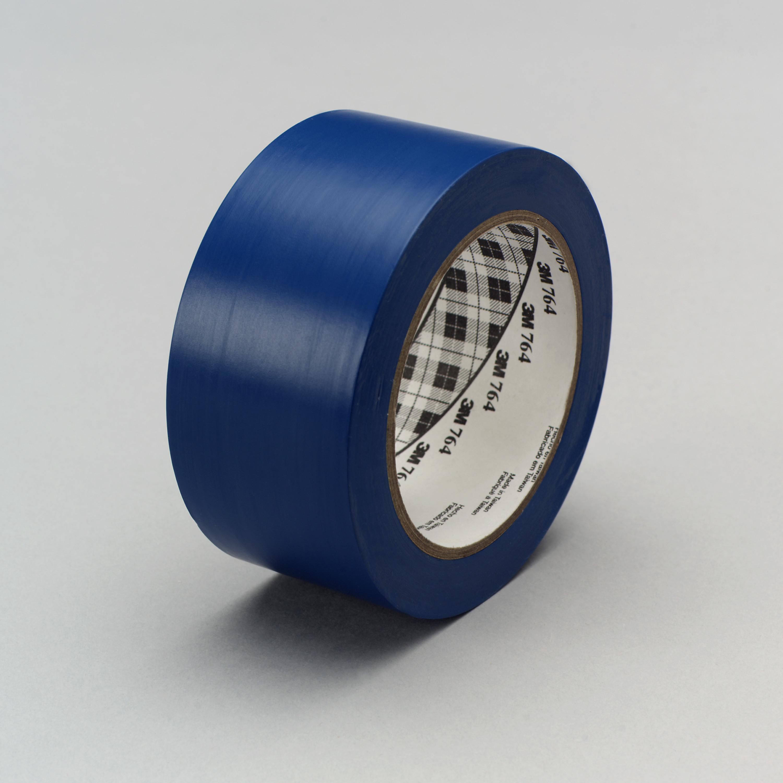 3M™ General Purpose Vinyl Tape 764, Blue, 49 in x 36 yd, 5 mil, 3 rolls per case, Plastic Core