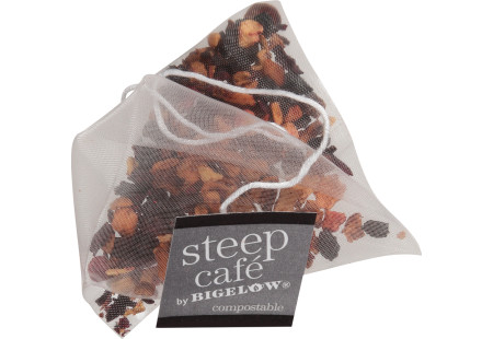 steep cafe by Bigelow organic full leaf wild encounter herbal tea pyramid bag