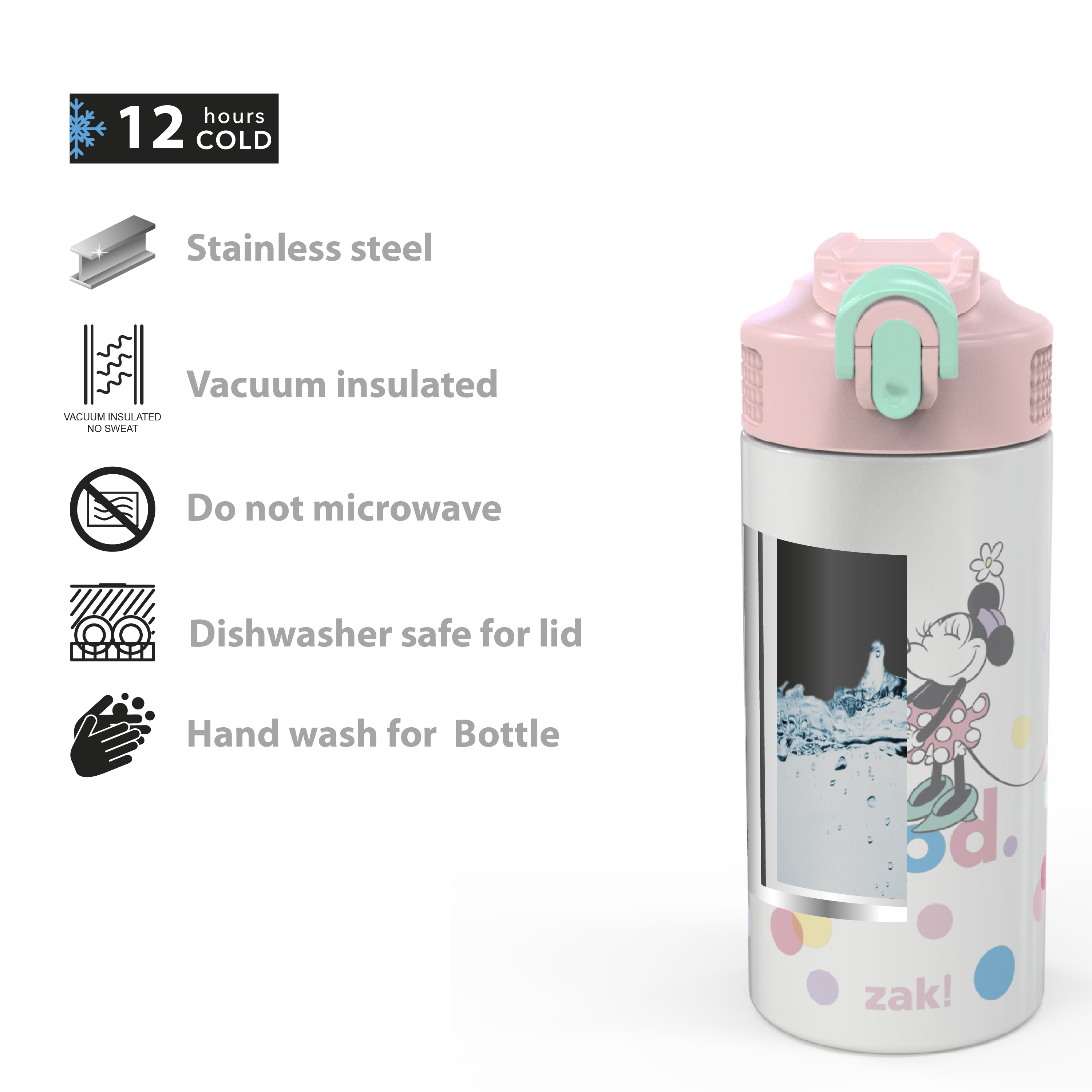 Disney 14 ounce Stainless Steel Vacuum Insulated Water Bottle, Minnie Mouse slideshow image 2