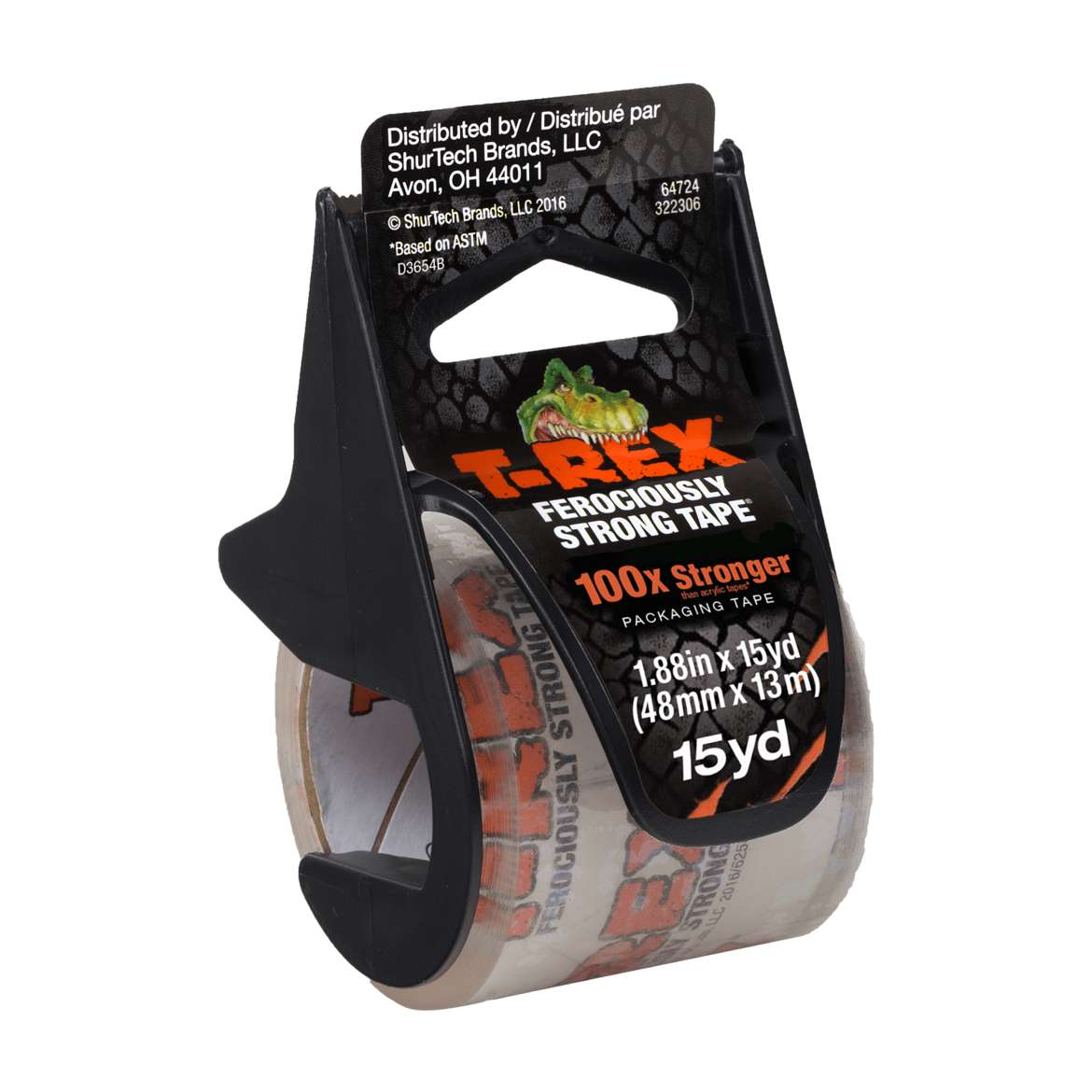 T-REX® Packaging Tape With Dispenser - Clear, 1.88 in. x 15 yd.