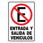 """Spanish No Entry or Exit Sign, 12"""" x 18"""""""