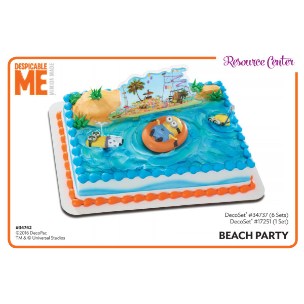 Minions Beach Party Cake Decorating Instruction Card