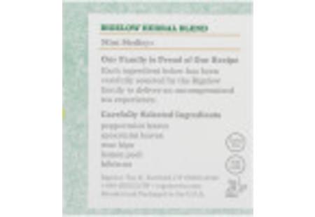 Ingredient panel of Mint Medley Herbal Tea box