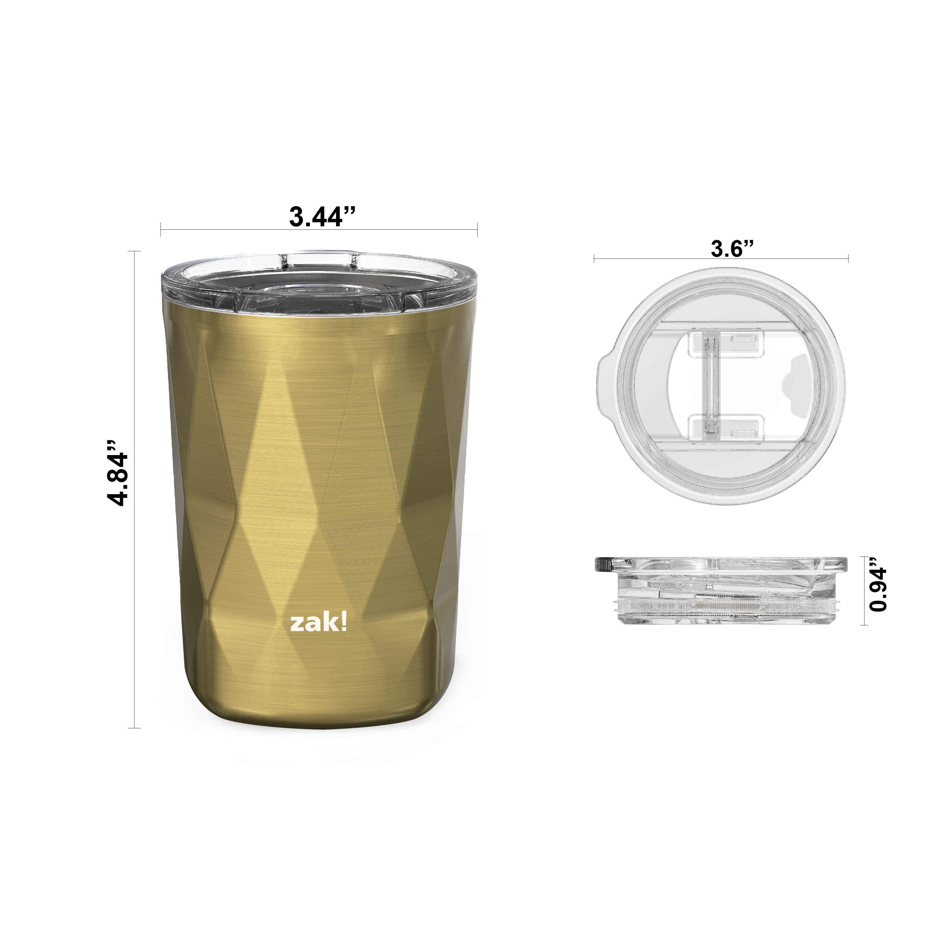 Fractal 13 ounce Vacuum Insulated Stainless Steel Tumbler, Light Gold slideshow image 4
