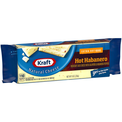 Kraft Natural Hot Habanero Cheese Block 8 oz Wrapper