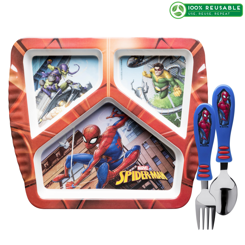 Marvel Comics Kids Dinnerware Set, Spider-Man, 3-piece set slideshow image 1