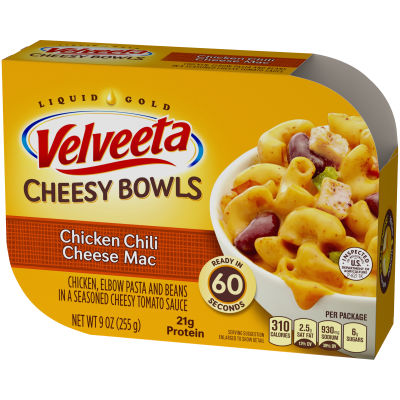 Kraft Velveeta Cheesy Bowls Chicken Chili Cheese Mac 9 oz Sleeve