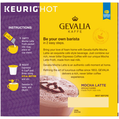 Gevalia Mocha Latte Espresso K-Cup Packs & Froth Packets, 9 count Box