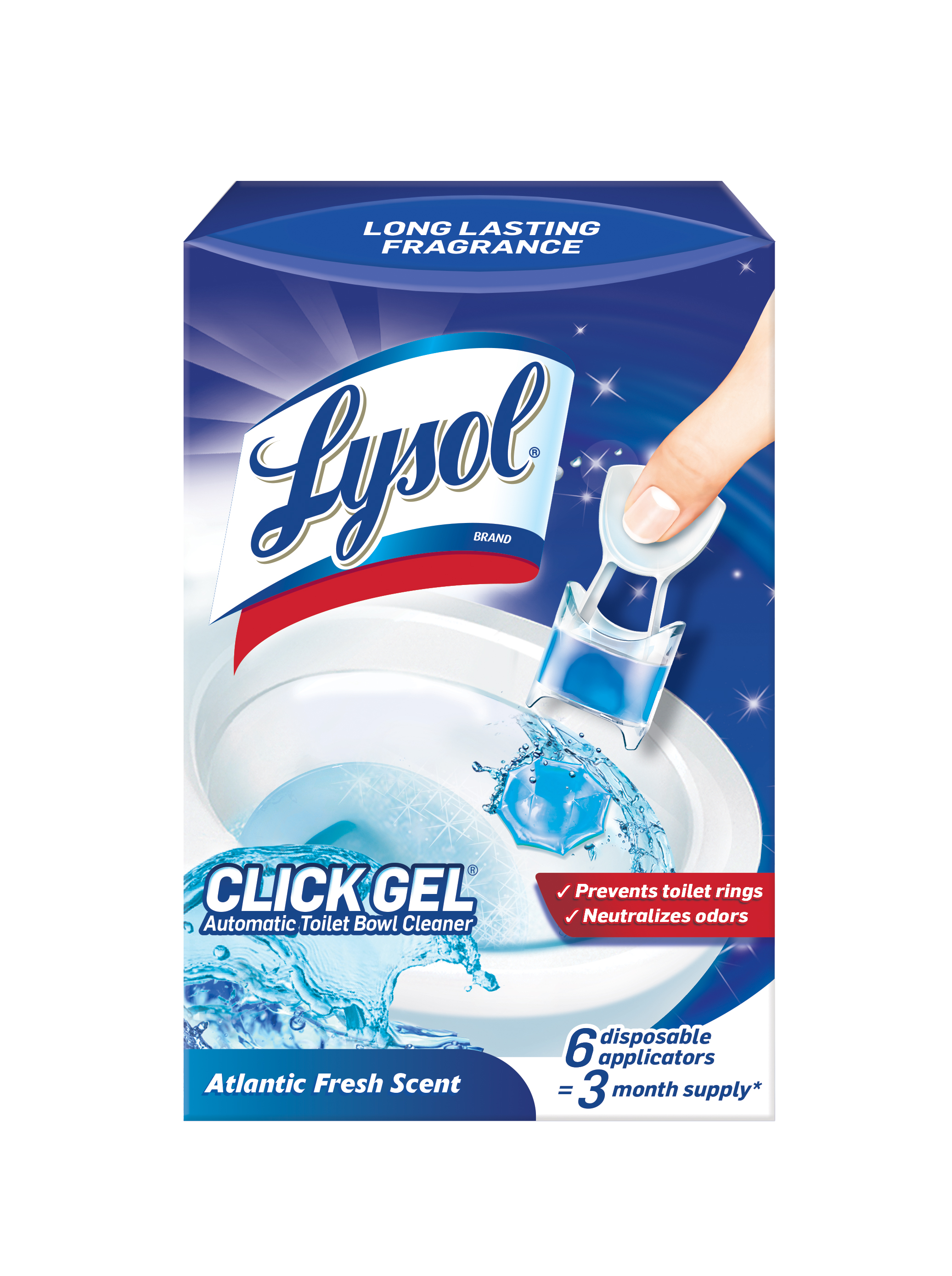 Lysol Click Gel Automatic Toilet Bowl Cleaner, Ocean Fresh Scent, 6ct