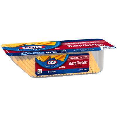 Kraft Sharp Cheddar Cheese Cracker Cuts 24 Slices 7 oz